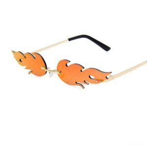 Flame Shape Oversize Sunglasses Unisex Lunette